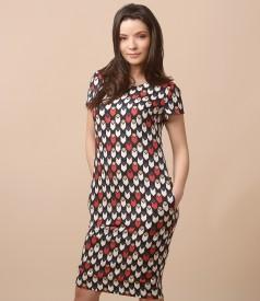 Rochie din vascoza cu imprimeu geometric