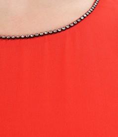 Rochie de seara din voal cu garnitura de cristale