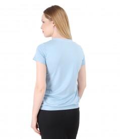 Bluza din jerse elastic cu decolteu in V