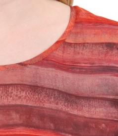 Bluza din jerse elastic cu fata imprimata cu dungi