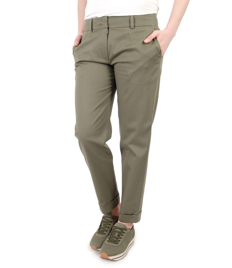 Pantaloni eleganti din bumbac texturat