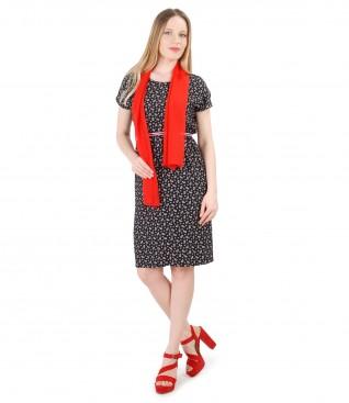 Rochie din vascoza imprimata cu esarfa din voal uni
