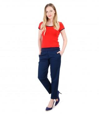Tinuta eleganta cu pantaloni din bumbac texturat si bluza din jerse