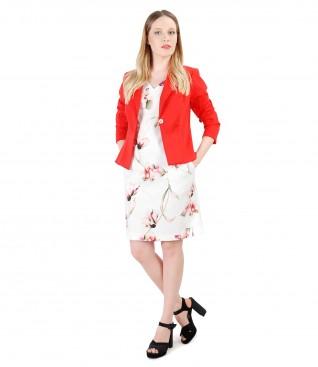 Rochie cu imprimeu floral si sacou din bumbac texturat