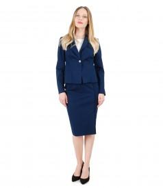 Costum office dama cu sacou si fusta cu franjuri la terminatii