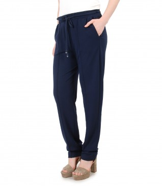 Pantaloni largi cu elastic in talie cu accesorii Swarovski