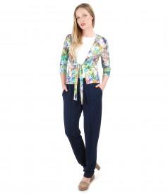 Bluza din jerse legata cu cordon si pantaloni largi