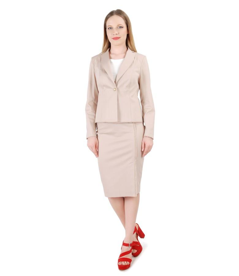 Costum office dama cu fusta si sacou din bumbac texturat