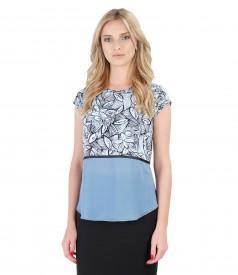 Bluza eleganta din jerse elastic cu basc