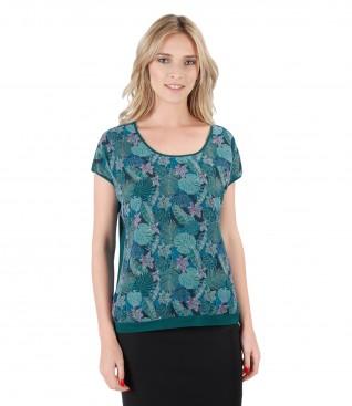 Bluza din jerse elastic cu fata imprimata cu flori