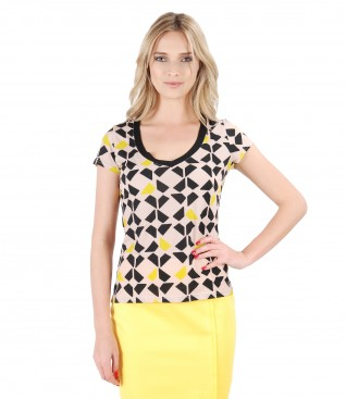Tricou din jerse imprimat cu motive geometrice
