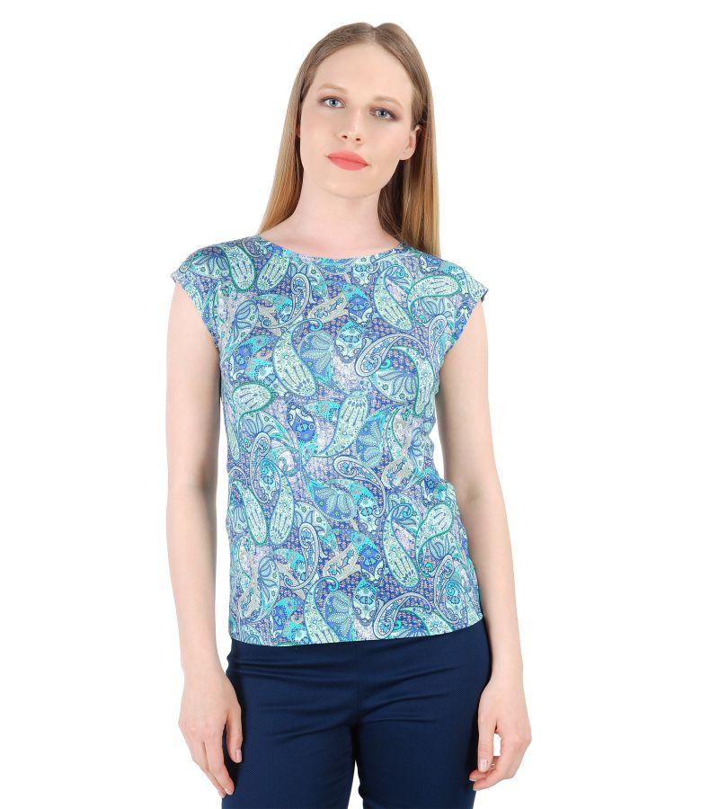 Bluza eleganta din jerse cu imprimeu asiatic