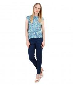 Tinuta eleganta cu pantaloni pana si tricou cu imprimeu floral