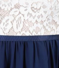 Rochie de seara cu corsaj din dantela cu motive florale