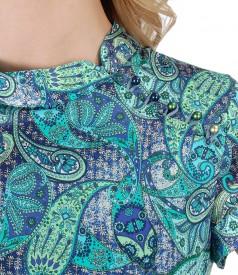 Rochie din matase cu imprimeu asiatic si perle Swarovski