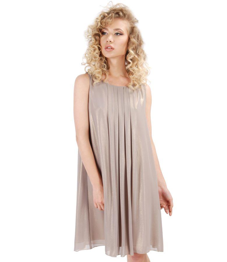 Rochie de seara din voal cu efect sidefat si epoleti cu cristale