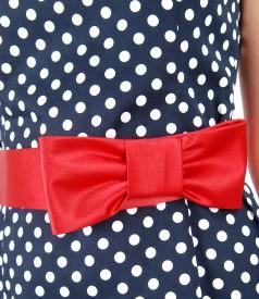 Rochie din bumbac elastic imprimat cu buline