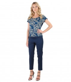 Bluza cu fata din matase imprimata cu flori si pantaloni pana