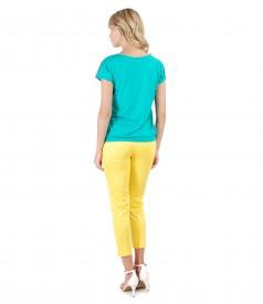 Pantaloni pana cu bluza lejera cu fata imprimata cu dungi