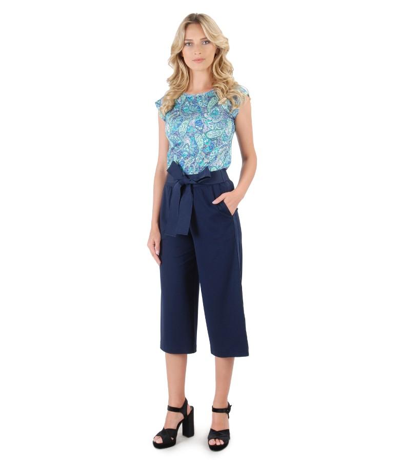 Pantaloni 3/4 cu tricou din jerse imprimat cu motive florale
