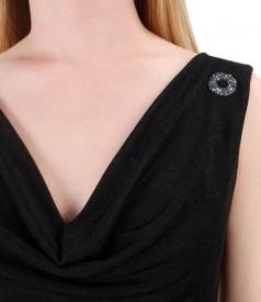 Rochie din jerse elastic cu aplicatie de cristale