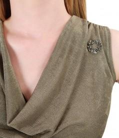 Bluza din jerse uni cu cu aplicatie de cristale