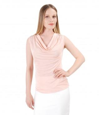 Bluza din jerse uni cu cu aplicatie de cristale Swarovski