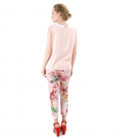 Bluza eleganta cu pantaloni pana imprimati cu flori