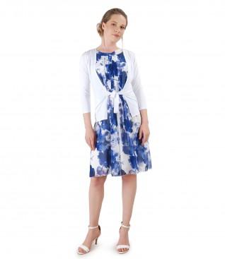 Tinuta eleganta cu rochie din voal si bluza din jerse cu cordon