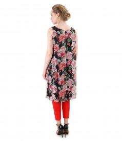 Rochie din voal cu imprimeu floral si pantaloni pana