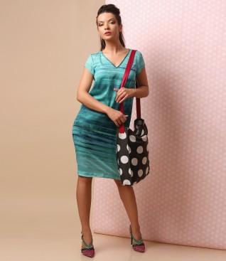 Rochie eleganta cu geanta imprimata cu buline