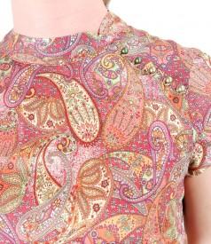 Rochie din matase cu imprimeu asiatic si perle