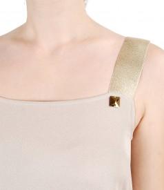 Rochie de seara cu bretele aurii si aplicatie de cristale