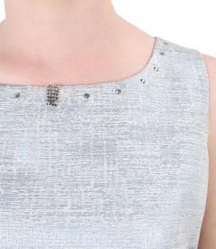 Rochie cu bumbac cu fir de efect si aplicatie de cristale
