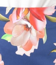 Fusta din bumbac elastic imprimat cu motive florale