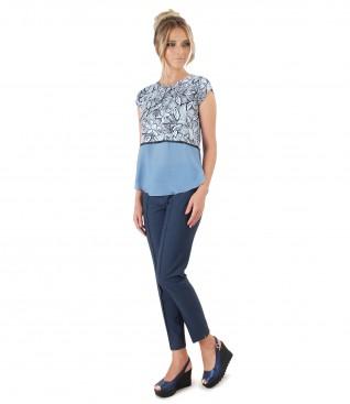 Pantaloni din vascoza si bluza cu imprimeu floral