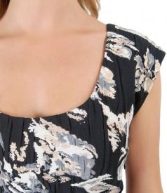 Rochie din brocart de bumbac si perle nude aplicate la decolteu