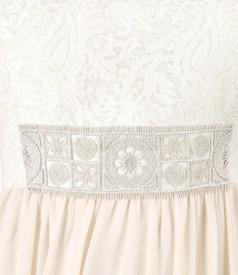 Rochie cu corsaj din brocart cu bumbac si fir de efect auriu