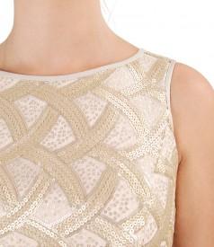 Rochie din viscoza cu corsaj cu paiete