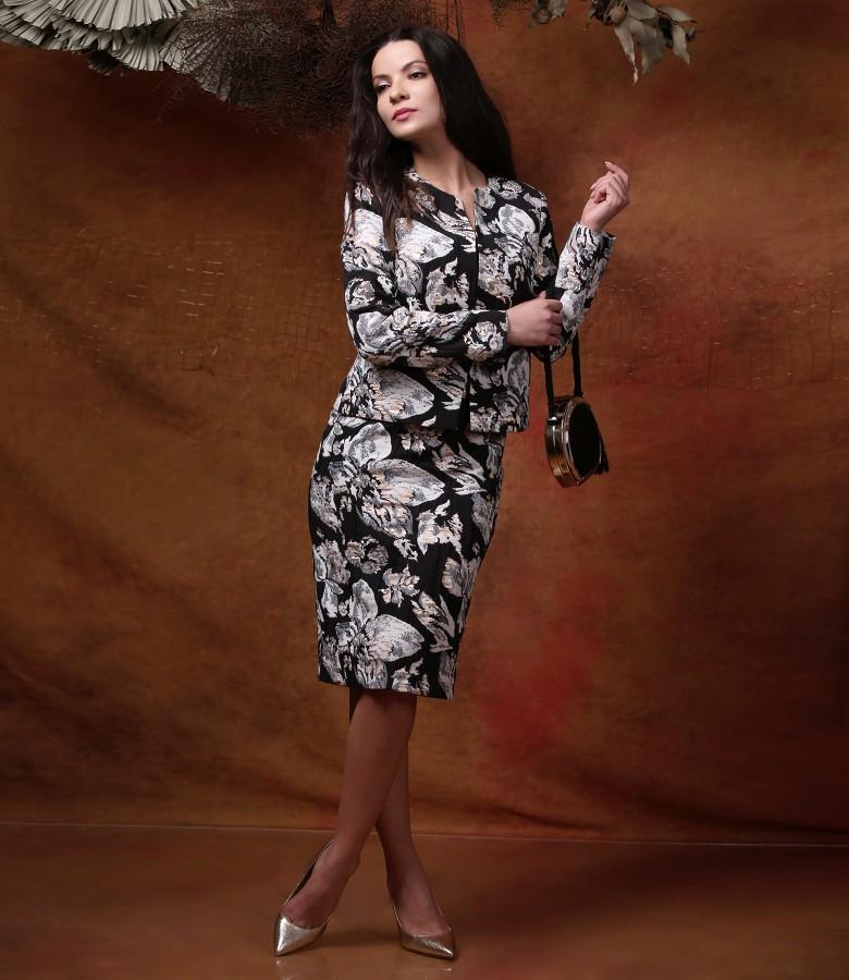 Tinuta de ocazie cu rochie si sacou din brocart de bumbac cu fir auriu