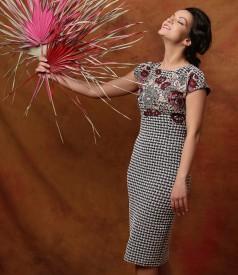 Rochie din jerse elastic brocat