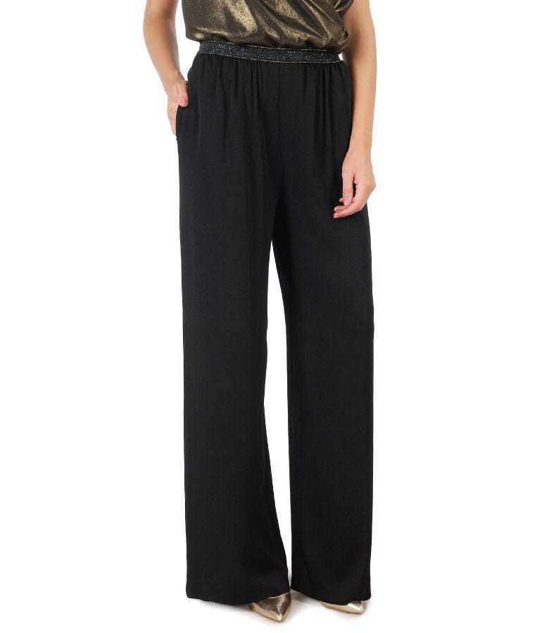 Pantaloni eleganti din vascoza cu elastic pretios in talie