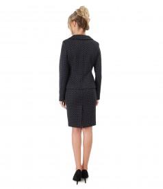Costum office dama cu sacou si fusta din bumbac imprimat cu picouri