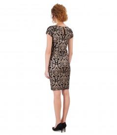 Rochie de seara din catifea elastica imprimata