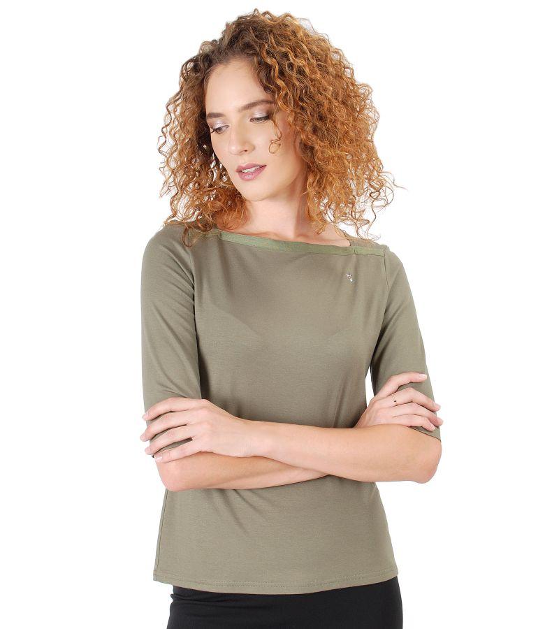 Bluza din jerse elastic cu aplicatie de cristale Swarovski
