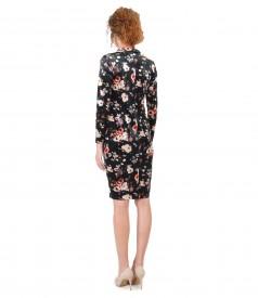 Rochie eleganta din catifea imprimata cu motive florale