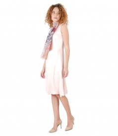 Rochie eleganta cu esarfa din vascoza imprimata cu motive florale