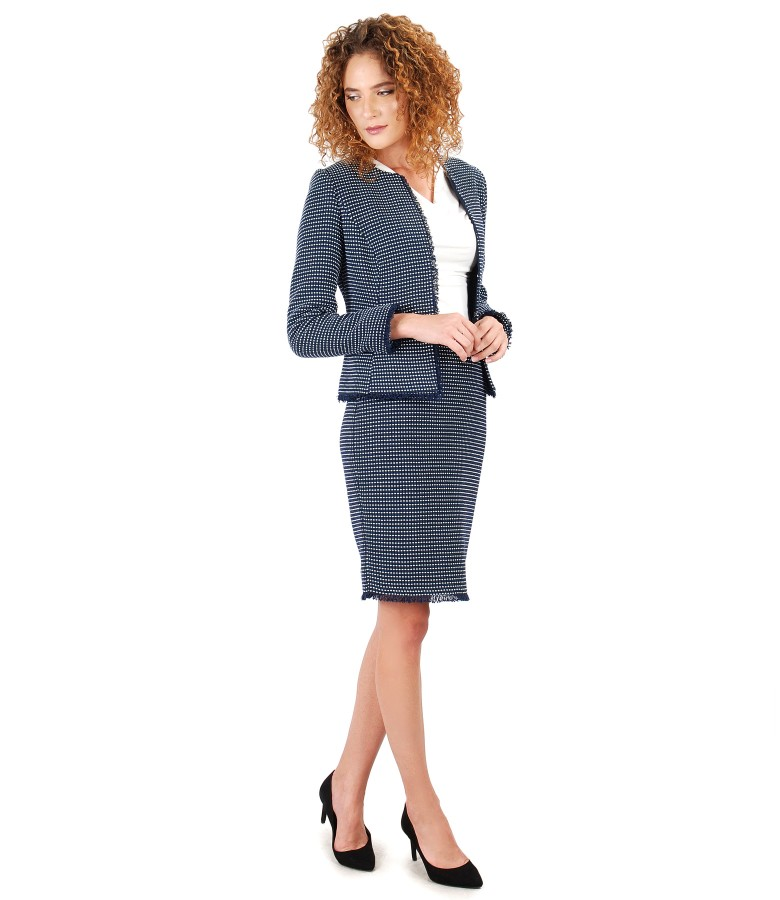 Costum office dama cu sacou si fusta din bucle multi-color