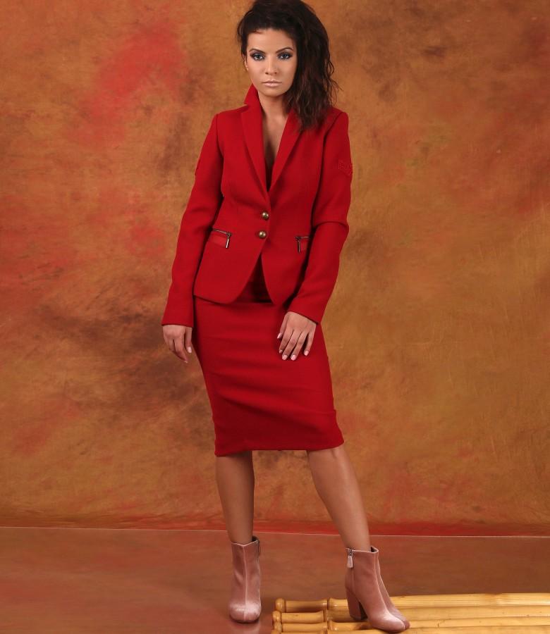 Costum office dama cu sacou si fusta din stofa texturata