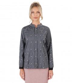 Bluza din bumbac elastic cu aplicatie de cristale